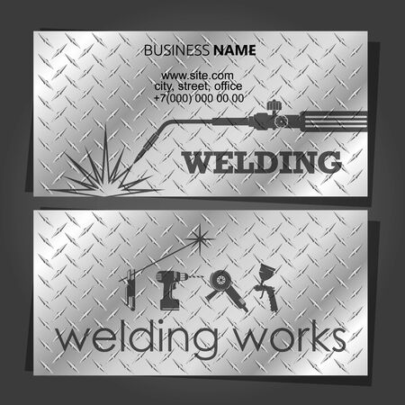 Business card for a welder with welding machine and tool