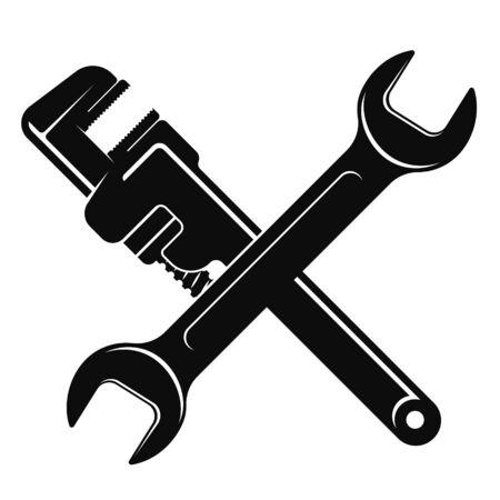 Schraubenschlüssel und Gasschlüssel einfache Silhouette zur Reparatur Vektorgrafik