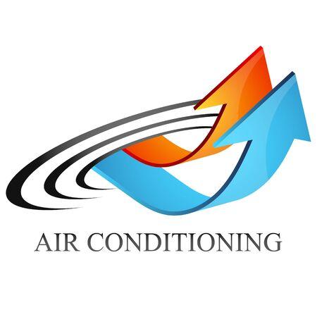 Aire acondicionado calefacción roja y símbolo de flechas azules de refrigeración
