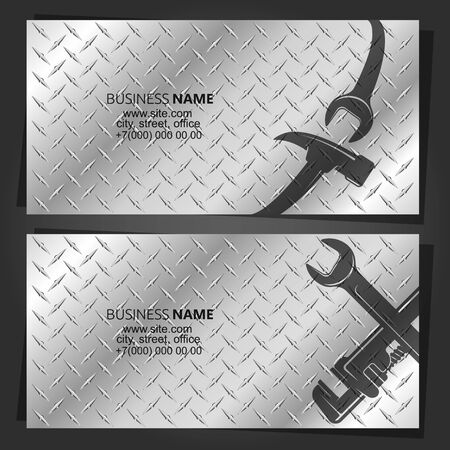 Hammer and wrench on the background of metal repair and service business card