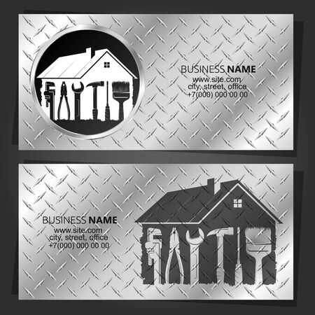 Repair and service of the house with the tool on a metal background Business card