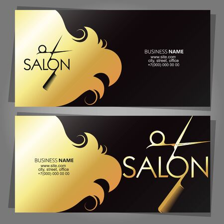 Golden hair curls and scissors comb business card for beauty salon Çizim