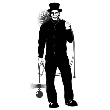 Chimney sweep in uniform and cylinder with a tool for cleaning the chimney