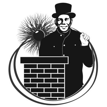 Chimney sweep with tool in uniform and chimney on the roof symbol Vektorgrafik