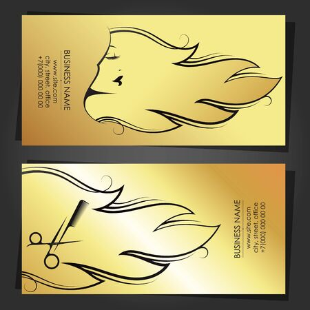 Business card profile of a beautiful girl with a golden scissors haircut and comb concept Çizim