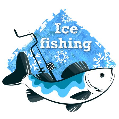 Fish winter fishing with a fishing rod with a drill and snowflakes Çizim