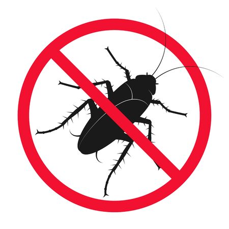 Insect and pest control cockroach in red circle sign Vectores