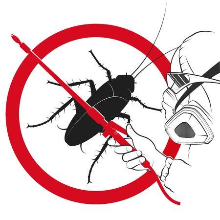 Man in uniform insect control and extermination service Ilustración de vector