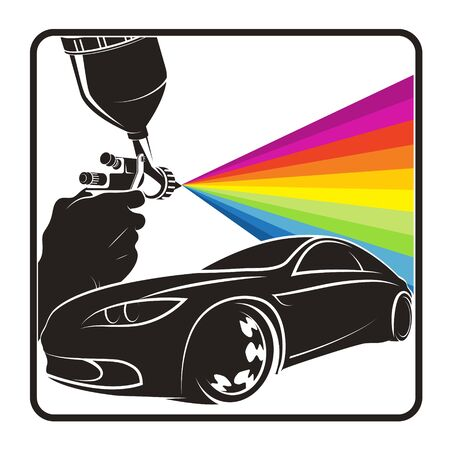 Spray gun in hand painting car symbol for business