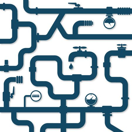 Water pipes with pressure sensors plumbing system simple illustration