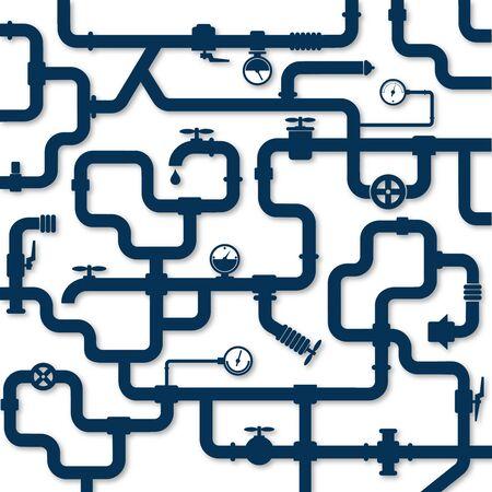 Water pipes system plumbing repair and installation illustration Standard-Bild