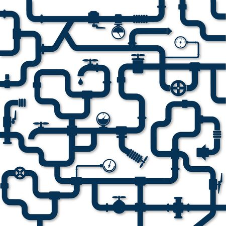 Water pipes system plumbing repair and installation illustration Imagens