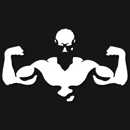 Männliche Muskelsilhouette für Fitnessstudio und Sportillustration