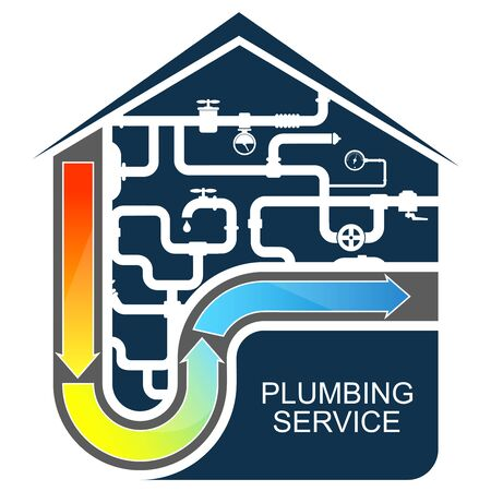 Plumbing and water pipes cleaning and service house symbol for business