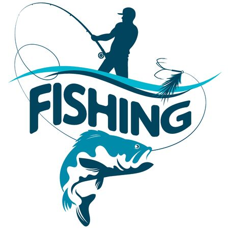 Fisherman catches a fish on a wave illustration