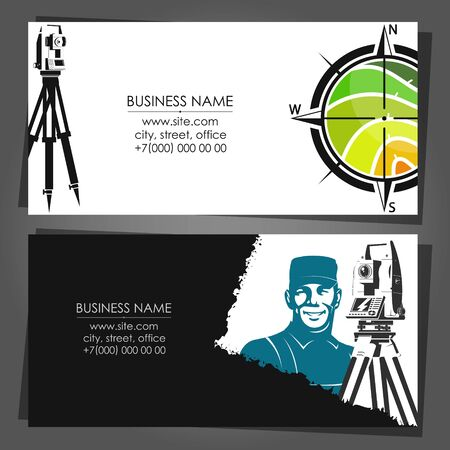 Business card concept engineer land surveying and measuring land