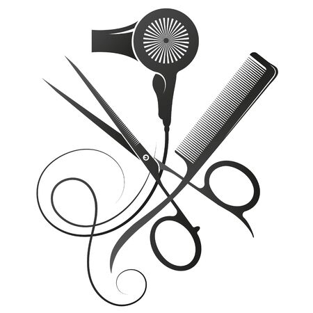 Scissors and comb stylist hair dryer symbol of a beauty salon and hairdresser