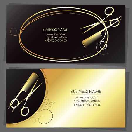 Business card for a beauty salon scissors and stylist gold comb
