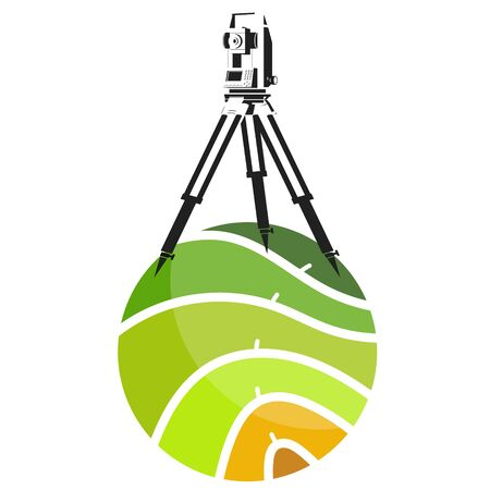 Surveying and cartography engineering work symbol for business