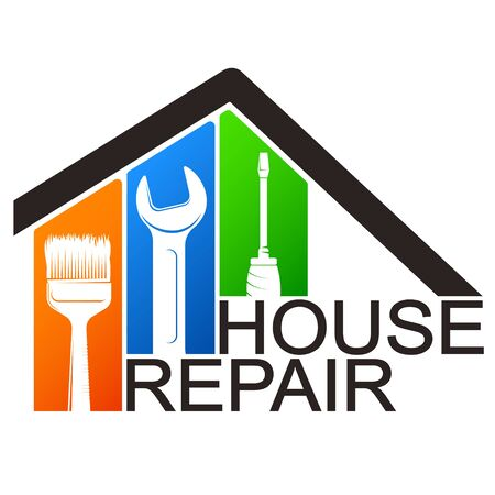 House repair service and construction tool symbol for business