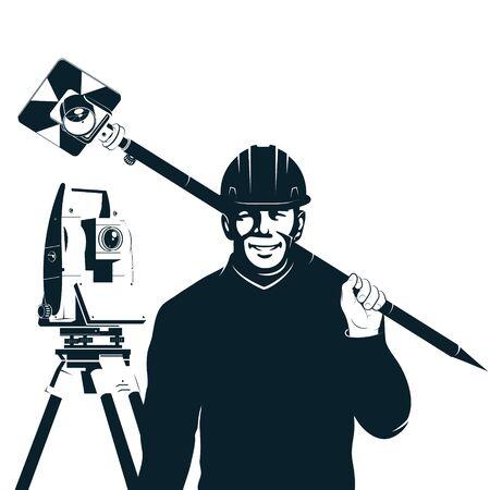Surveyor engineer with silhouette tool to perform boundary surveys