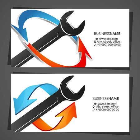 Air conditioning cooling and heating service business card concept Vettoriali