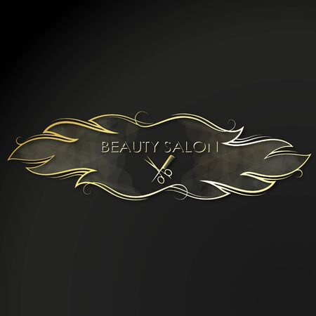 Scissors with comb and golden curls of hair symbol for a beauty salon Çizim