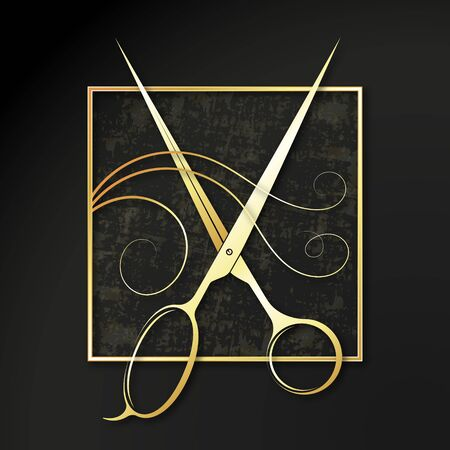 Golden scissors and hair symbol for beauty salon and hairdresser