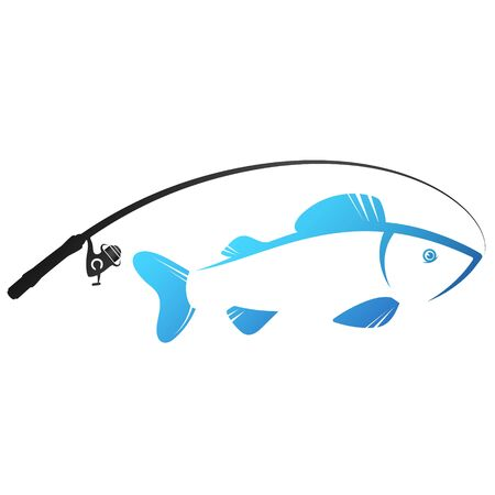 Fishing rod silhouette and fish caught symbol for fishing Illustration