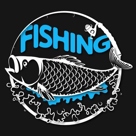 Fish on blue waves symbol for sport fishing