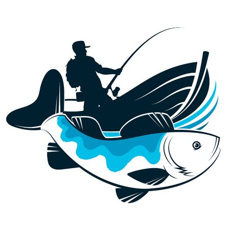 Fisherman with fishing rod in a boat and fish design