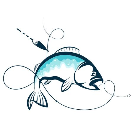Silhouette for fishing fish and hook Illustration