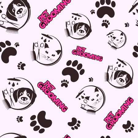Pet grooming and washing seamless pattern background Ilustração