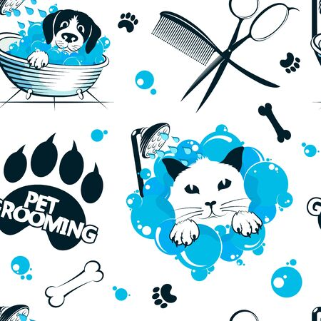 Grooming and washing pets seamless pattern background for business