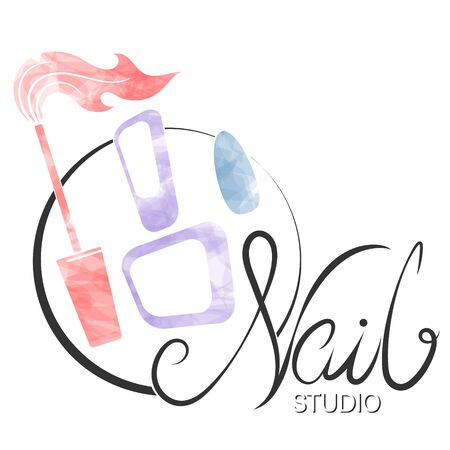 Nails manicure care and painting symbol for business stylist