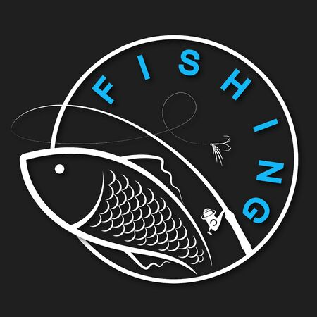Fish and fishing rod silhouette on a black background design