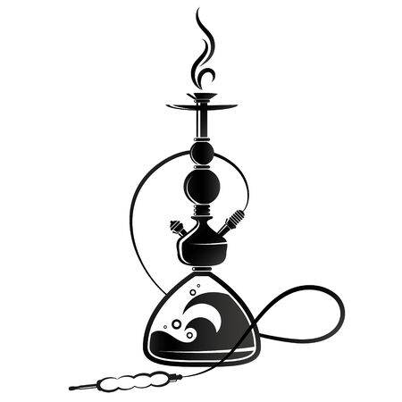 Hookah silhouette for smoking and relaxation illustration