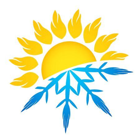 Sun and snowflake symbol air conditioning ventilation and heating symbol Vektorové ilustrace