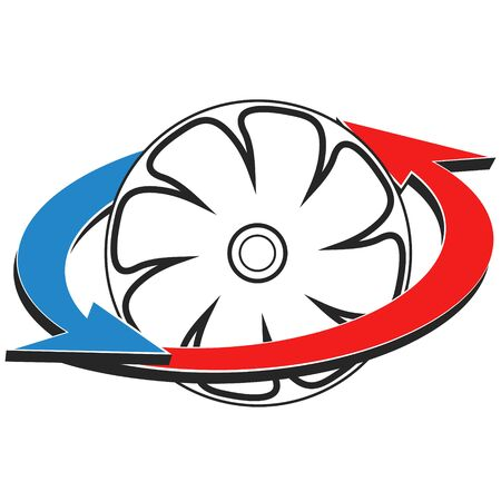 Air conditioning and heating fan symbol for business