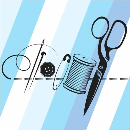 Needle scissors and spool of thread design for sewing