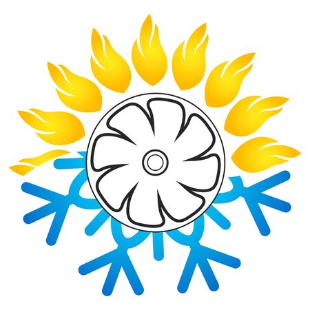 Sun heat and snowflake cooling air conditioning fan symbol design