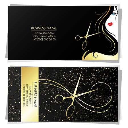 Gold scissors and curl hair business card for beauty salon