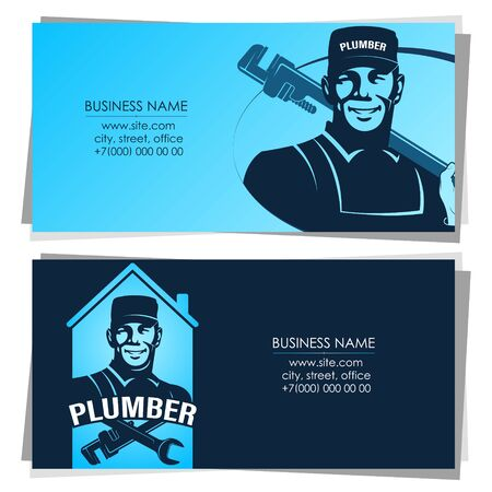 Plumber repairman with wrench business card
