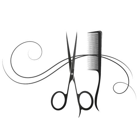 Hair stylist scissors comb and curl hair silhouette for beauty salon Vecteurs