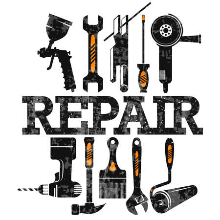 Repair and service symbol with tool