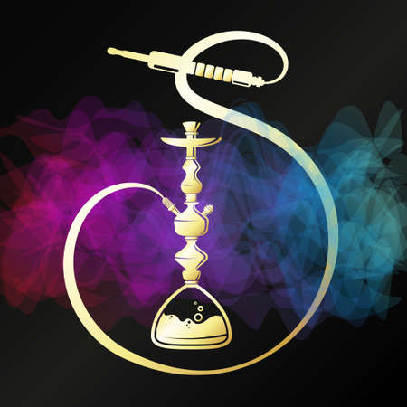Golden hookah on black background with smoke pattern design for relaxation Illusztráció