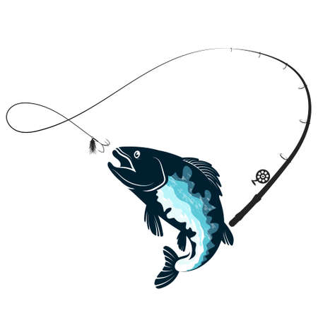 Fishing rod and fish jumping for bait silhouette Illustration