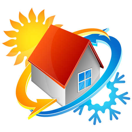 House air conditioning symbol sun and snowflake design