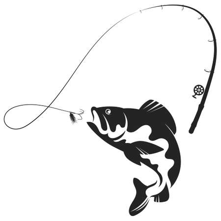 Jumping fish and fishing rod silhouette Vectores