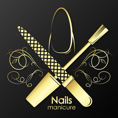 Nail care manicure and pedicure golden symbol